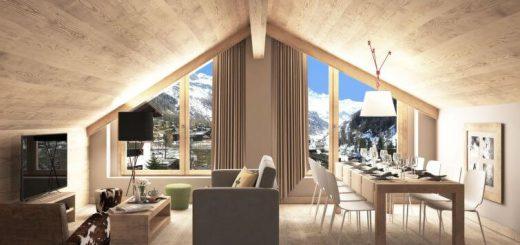Szwajcaria Zinal narty apartament salon